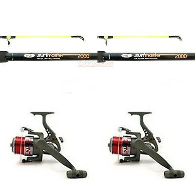 2 x  12 FT Beachcaster Sea Fishing Rods and reel kits line Sea Fishing Tackle