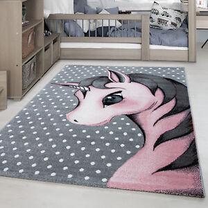 Kinderteppich-Einhorn-Muster-Kinderzimmer-Babyzimmer-Rechteck-Rund-Grau-Pink