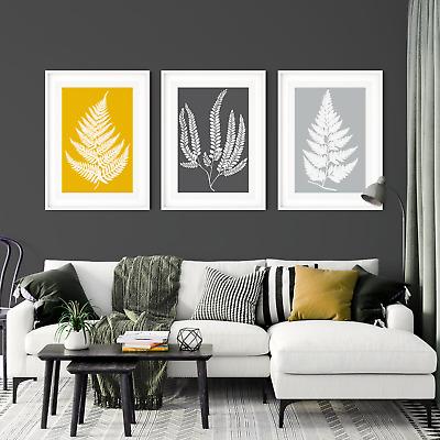 3pc Fern Leaf Mustard Prints Mustard Wall Art Yellow And Gray Wall Art Ebay