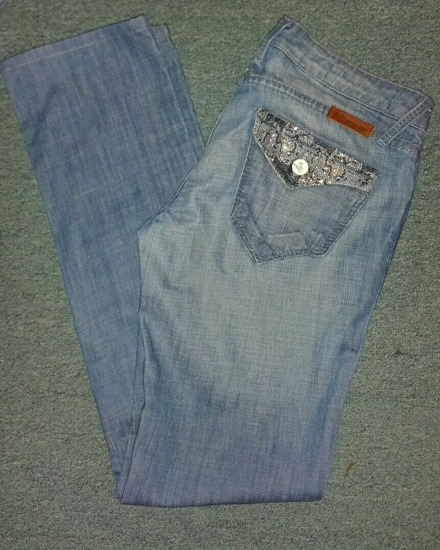 BNWOT J & COMPANY STRAIGHT LEG OCEAN GLAMOUR CRYSTAL JEANS DETAIL SIZE 27 10