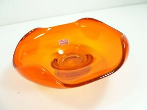 Vintage-Viking-Hand-Blown-Persimmon-Orange-Candy-Bon-Bon-Dish-Mid-Century