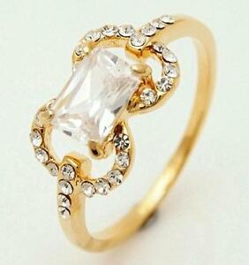 New-10K-Yellow-Gold-Filled-White-Cubic-Zirconia-Womens-Ring-Size-7-5-US-P-Aus-UK
