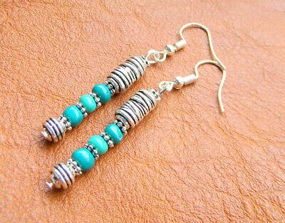 Indianer Schmuck OHRRINGE echt Handarbeit 925 Silber Haken neu Türkis Perlen | eBay