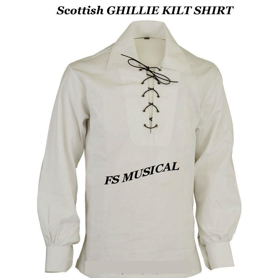 Scottish GHILLIE KILT SHIRT in White Color Jacobite Jacobean SIZE S TO 5XL