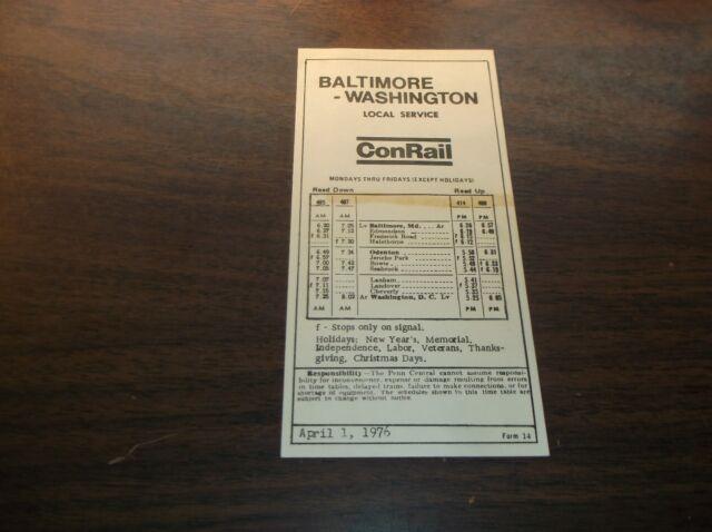 APRIL 1976 CONRAIL BALTIMORE TO WASHINGTON NORTHEAST CORRIDOR PUBLIC TIMETABLE
