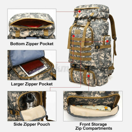 80L Military Tactical Camouflage Hiking Travel Backpack Waterproof Army Rucksack