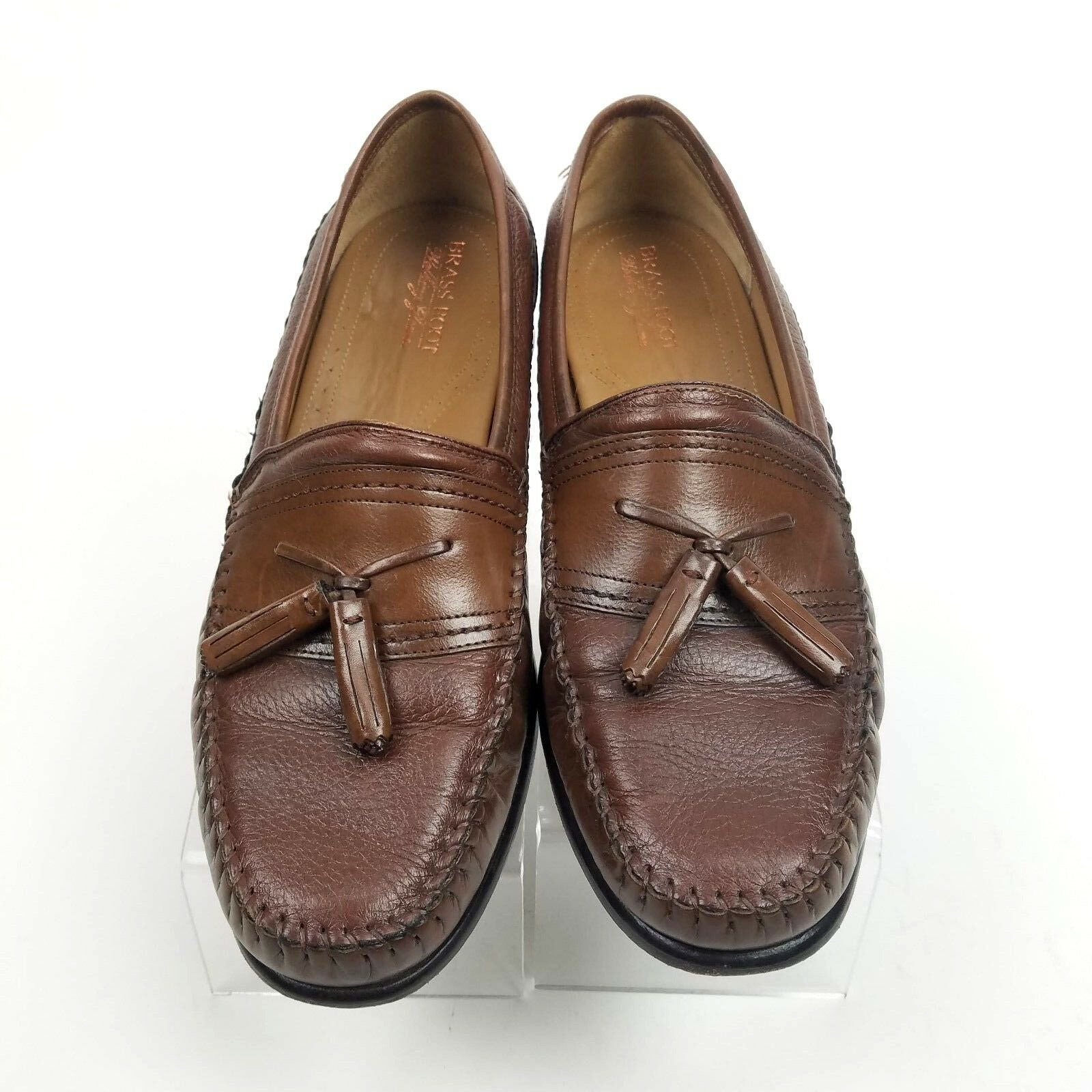 BRASS BOOT Men's Brown Leather Tassel Loafers shoes Sz 11.5 Med