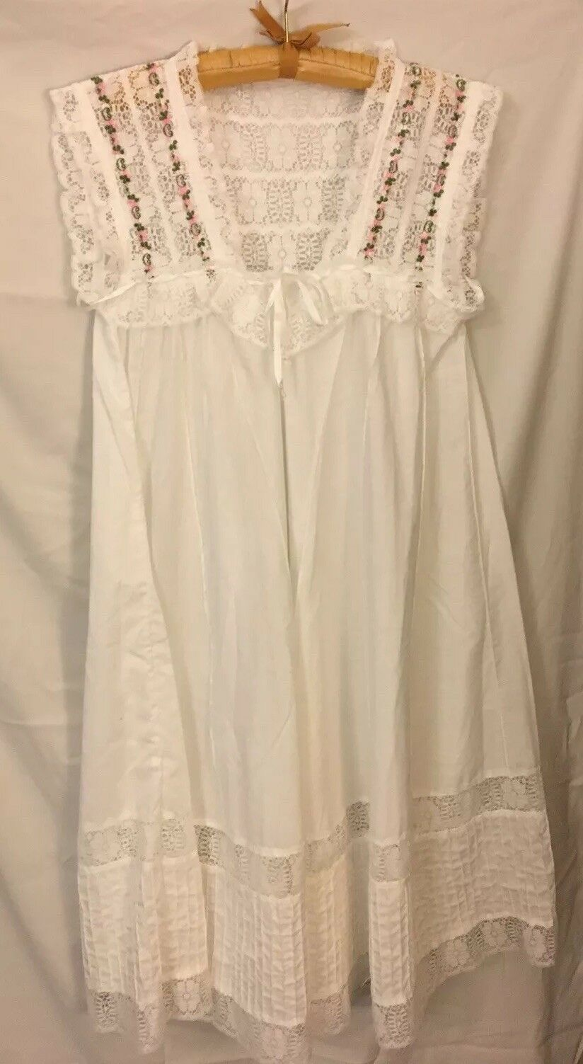 damen Handmade Cotton Dress w Rosa Flowers, Lace, Pintuck Gown. Größe L XL