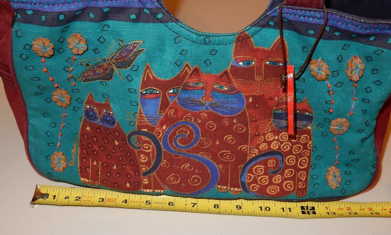 Laurel Burch Cat Tote Bag & Pouch Used - image 10