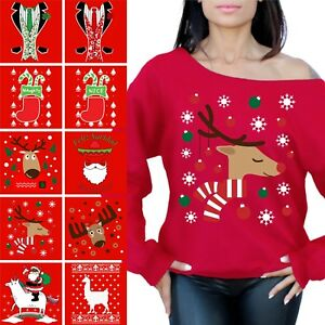 be1d09ea86a Image is loading Ugly-Christmas-Sweatshirt-Off-Shoulder-Unicorn-Sweaters -Women-