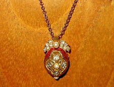 Russian FABERGE inspired RED ENAMEL Swarovsky Crystals EGG with wings pendant