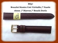 BRACELET MONTRE CUIR VERITABLE NAUTIC /* MARRON /*16 mm REF.BS37