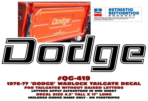 "17/"" LONG GOLD METALLIC DODGE TAILGATE DECAL QG-419 1976-77  WARLOCK TRUCK"