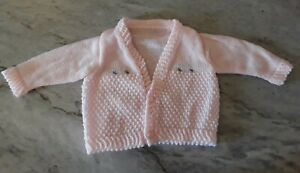 Vintage-Handmade-Knit-Infant-Pink-Baby-Girl-Or-Doll-Sweater-Jacket-photo-prop