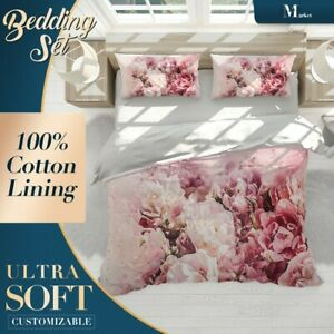 Roses-Flowers-Floral-Pink-Quilt-Cover-Double-Bed-Single-Queen-King-Size