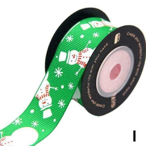 Un seul Côté Imprimé Noël Gros-Grain Ruban bonhomme de neige vert or P3Q3 5 O0B6