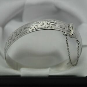 1975-Vintage-Solid-925-Sterling-Silver-Scroll-Design-Hinged-Bangle-Bracelet