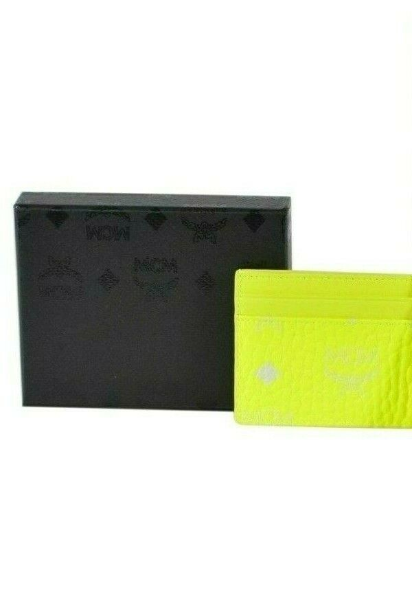 Y-1474962 Neuf MCM Visetos Jaune Monogramme 4-slot Porte Carte de Crédit Étui