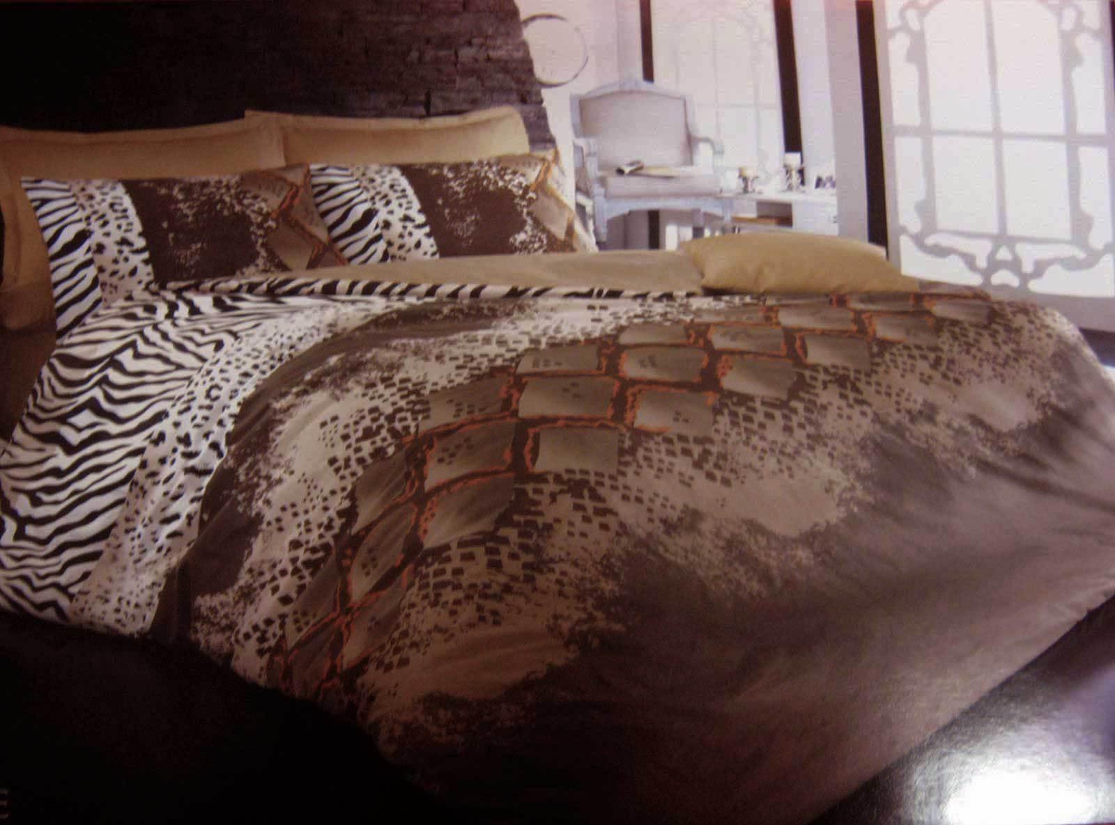 Bettwäsche 200x220 cm Bettgarnitur Bettbezug Satin 100% Baumwolle 6 tlg SNAKE BR