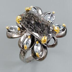 Unique-Natural-Rutilated-Quartz-925-Sterling-Silver-Ring-Size-8-5-R80295