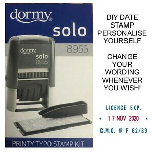 PERSONALISED DATE STAMP DIY COMPANY NAME DORMY 4755 SELF INKING RUBBER 19943