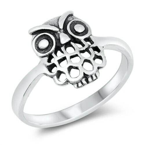 Cute Owl Animal Bird Nature.925 Sterling Silver Band Ring Size 4 to 10 NEW