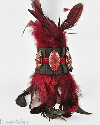 Intense Feather Plume Ribbon Bracelet - Red Purple Feathers Large Stone Costume