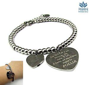 Bracciale donna in acciaio sfere perline con cuore braccialetto vasco rossi da
