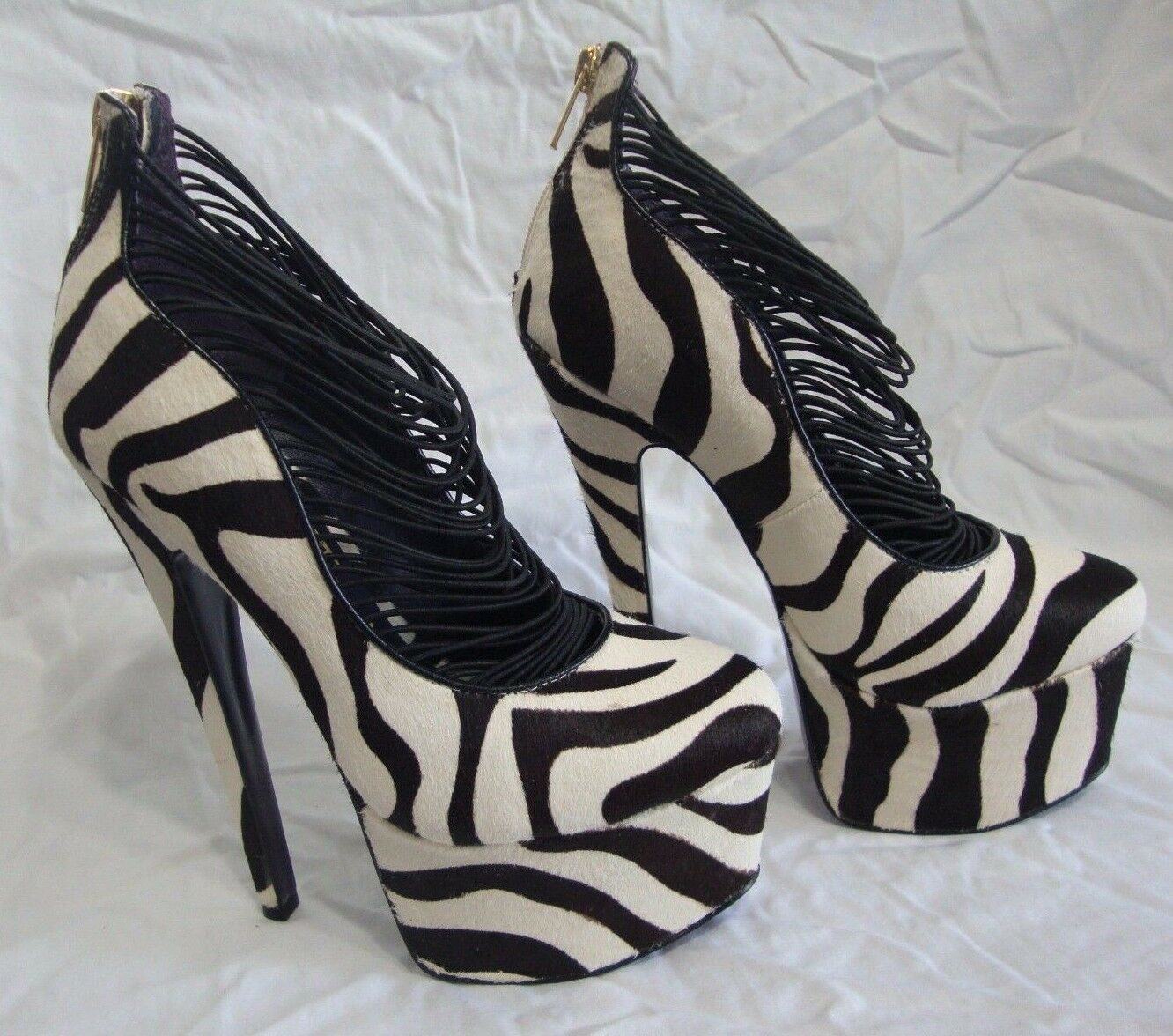 London Trash 6 Zebra Stripe Pony Hair Platform Heels sz 6 Trash Leder Pinup Rockabilly 8efccf