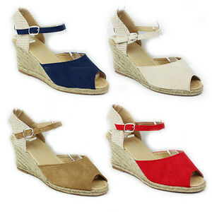 WOMENS-LADIES-PEEP-TOE-WEDGE-HEEL-ANKLE-STRAP-SANDALS-ESPADRILLES-SHOES-SIZE-3-8