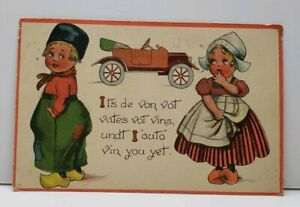 Valentines-Greeting-Adorable-Dutch-Children-with-Car-Postcard-F20