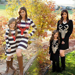 5e1c8e8cf96 Image is loading Mother-and-Daughter-Matching-Christmas-Deer-Dress-Mommy-