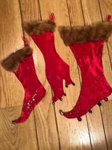 Red Velvet Christmas Stockings.Details About Set Of 3 Vintage Holiday Christmas Stockings Red Velvet W Fur Cuff