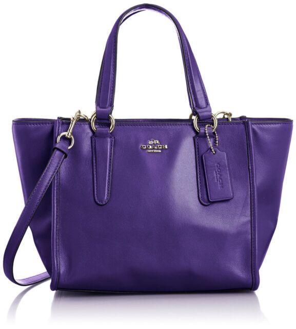 Coach Purple Leather Gold Women S Mini Crosby Satchel Handbag Purse
