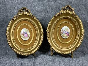 Vintage-Pair-PORCELAIN-CAMEOS-in-Gold-Victorian-Molded-Picture-Frame-on-Velvet