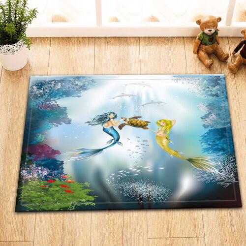 Mermaid Princess Sea Turtle Bathroom Shower Curtain Set Waterproof Fabric Hooks
