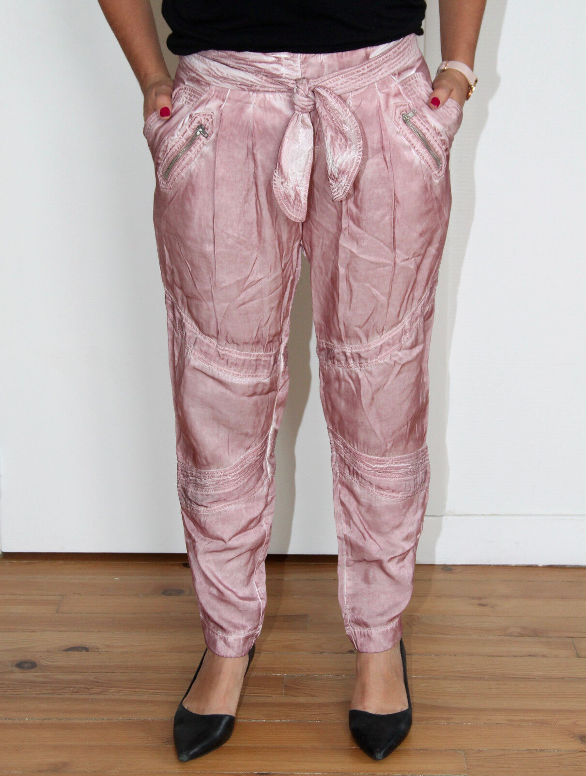 Luxurious trousers viscose pink MARIAGRAZZIA PANIZZI T 40 fr 44i ALL NEW