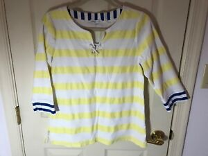 Woman-s-Talbots-hello-Saturday-size-large-yellow-stripe-3-4-sleeve-cotton-top