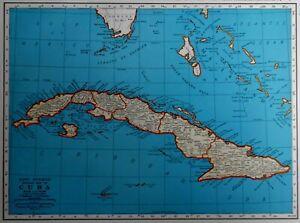 Details about Vintage 1942 World War WW II Era Atlas Map Cuba Guantanamo  Bay West Indies L@@K!