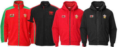 New Men/'s Wales Cymru Rugby Football Supporters Polo Shirt Jacket Fleece Tops