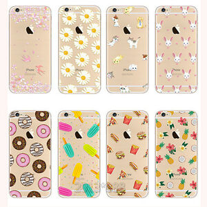huge inventory 08067 70cd9 Details about Rubber Soft TPU Silicone Clear Pattern Cute Case Cover For  iPhone 5 SE 6 6s Plus