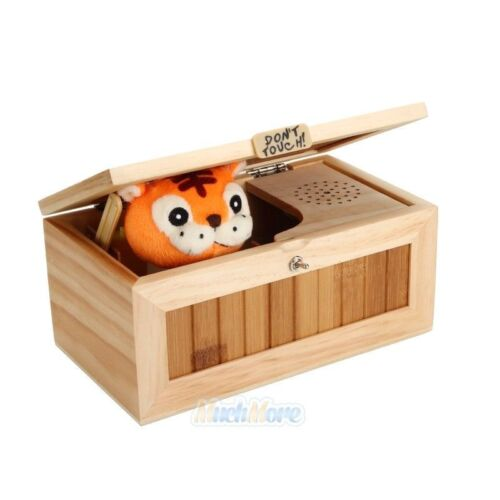 Upgrade Useless Box With Sound Leave Me Alone Wooden Box Funny Tiger Toy Gift US