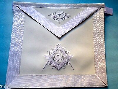 The Lux  Elegant White Master Mason   Apron White Threads