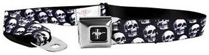 Seatbelt Men Canvas Web Military Ford Mustang GT Cobra Skulls Black Grays White