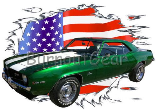 1969 Green Chevy Camaro Z28 c Custom Hot Rod USAT T-Shirt 69 Muscle Car Tees