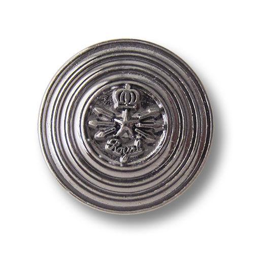"""5 chromfarbene ojales de metal botones /""""Royal/"""" con estrella y corona 3585ch"""
