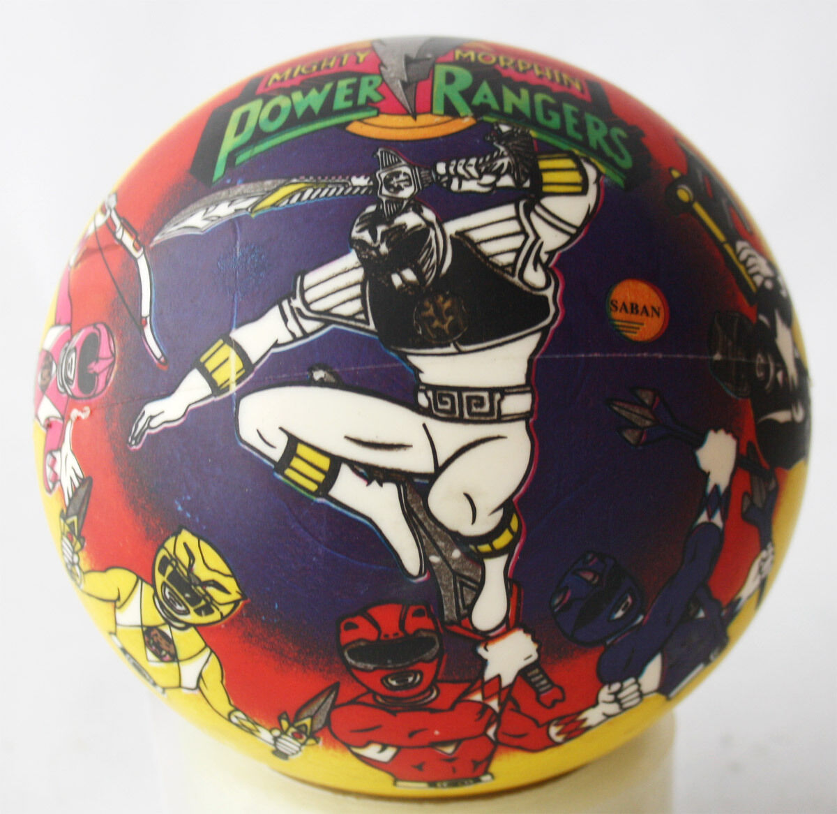 VERY RARE VINTAGE VINTAGE VINTAGE 1994 POWER RANGERS WHITE RANGER RUBBER BALL 22  SMITS NEW NOS 282a4f