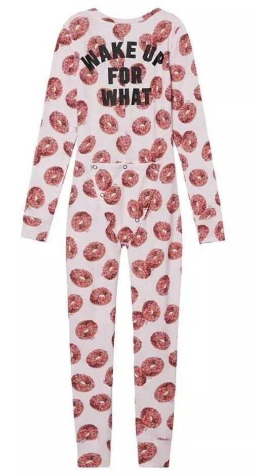 Victoria Secret PINK Donut Thermal Long Jane Pajama One Piece Footie Size Large