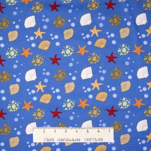 Sea Breeze Starfish Bubbles on Blue Nautical Fabric Wilmington YARD