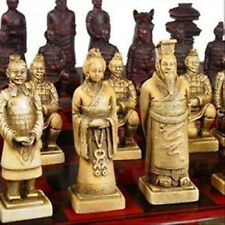 Chinese 32 pieces chess set/box/Xian Terracota Warrior